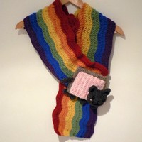 Nyan cat rainbow scarf with pop tart poptart by LottiesCreations