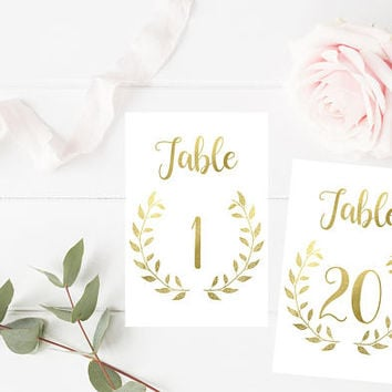 Gold Wedding Printable Table Numbers 1-20 -  Gold Wedding Table Numbers - Table Signs - Gold Wedding Table Decor - 4x6 - Party Printables