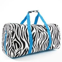 Zebra Print Duffel Bag Blue Trim 22 In.