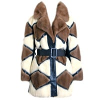 1960's Luxurious Ivory & Brown Patchwork Mink-Fur Belted Coat at 1stdibs