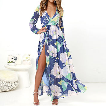2017 Summer Womens Floral Print Party Long Sleeve Maxi Long Beach Dress Plunge Sexy V Neck Chiffon Split Slit Sundress