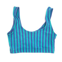 vintage 80s JAZZERCISE sports bra blue striped bralette cropped tank top yoga work out top women's jogger tank top bikini top XS