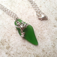 Green Frog Charm Necklace, Eco Friendly with Shamrock Recycled Glass Pendant