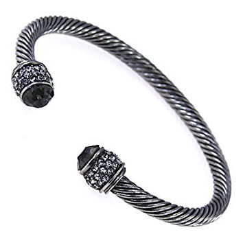 Womens Jewelry, Silver Tone Bangle Accented with Clear & Black Crystals.