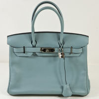 Hermes - Hermes Ciel (Pale Blue) Swift Birkin 30cm PHW Palladium Hardware