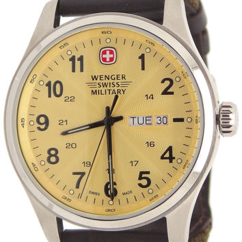 Wenger Men's Swiss Quartz Stainless Steel and Leather Watch Color:Olive Drab ...