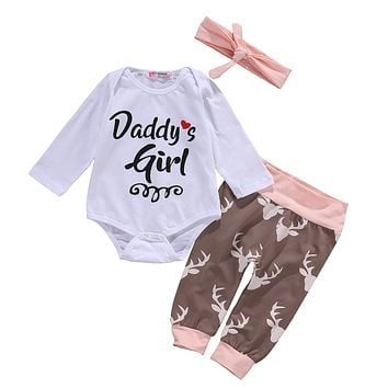 New fashion baby girls clothes baby clothing set Baby Girl Clothes Romper Pants Bodysuit Outfits Set+Headband