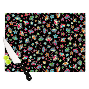"Julia Grifol ""Sweet Flowers"" Multicolor Black Cutting Board"