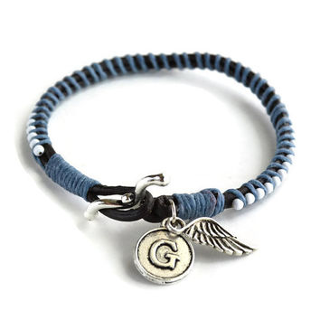 Angel Bracelet, Memorial Bracelet, Angel Wing and Initial Charm Bracelet, Charm Bracelet, Leather Charm Bracelet