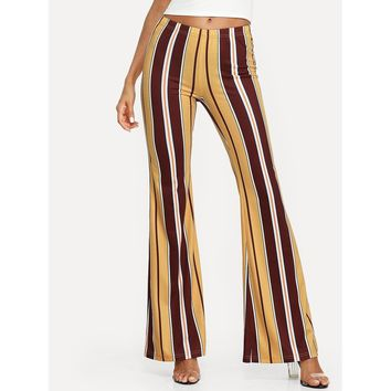 Vertical Striped Flare Hem Pants