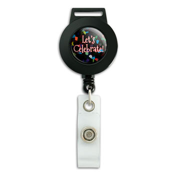 Let's Celebrate Confetti Retirement Retractable Badge Card ID Holder