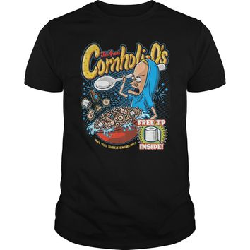 The Great Cornholio are you threatening me Beavis and Butthead  Premium Fitted Guys Tee