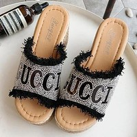 """""""GUCCI"""" Newest Popular Women Diamond Thick Soles High Heels Sandals Slippers"""
