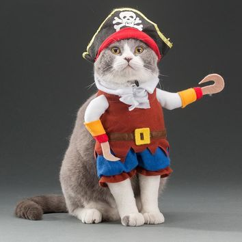 Funny Pet Dog Costume Suit Caribbean Pirate Suit Corsair Dressing up Party Halloween Apparel Plus Hat Clothes For Dogs Cats
