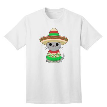 Cat with Sombrero and Poncho Adult T-Shirt by TooLoud