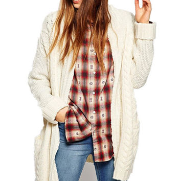 Beige Collar Big Pocket Knitted Long Cardigan