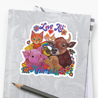 'Love all Animals ' Sticker by Lynda Bell