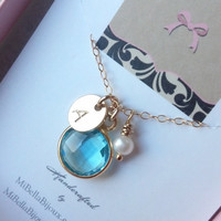 Bridesmaid, New Mom Necklace--Light Blue Topaz, Pearl, Monogrammed Initial Necklace Gold Fill/Gift For Friend