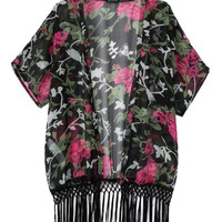 Red Floral Print Tassels Short Sleeve Chiffon Jacket [5013175300]