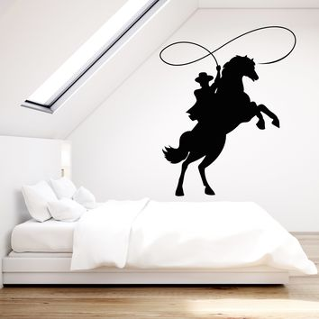 Vinyl Wall Decal Cowboy On Horseback Horse Lasso Western Movie Stickers (2349ig)