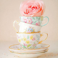 cottage chic,cottage decor, granny's tea cups,pink rose,shabby chic decor,shabby chic home,pastel colors,shabby chic wall decor