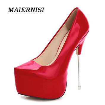 MAIERNISI Women 16cm Extreme Sexy High Heels PSize 35-44 Pumps 6cm Platform Heels Scarpin Valentine Ladies Stiletto Shoes