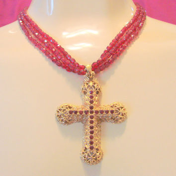 Kenneth J. Lane (KJL) Ruby Glass  Bead & Cross Pendant Necklace