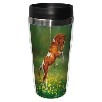 Dances with Daisies Artful Travel Mug - Premium 16 oz Stainless Lined w/ No Spill Lid