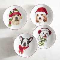 Christmas Puppies Porcelain Salad Plate Set
