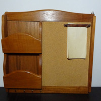 Vintage Dolphin Teakwood Wall Mail Organizer, Bulletin Board, Key Holder, and Note Holder - Mid Century Modern Style
