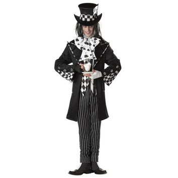 New Dark Mad Hatter Men's black Fancy Dress Fairy tale Alice In Wonderland cosplay adult Halloween Costumes for men party