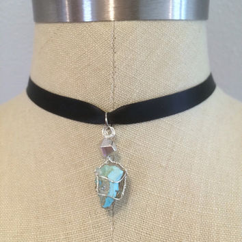 Boho Festival Inspired Wire Wrapped Bisbee Turquoise and Crystal Pendant Black Ribbon Choker