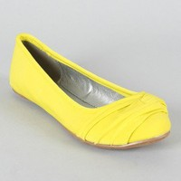Qupid Thesis-127 Pleated Round Toe Ballet Flat