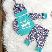 3PCS Baby Girls Boys Clothes Set Tops T-shirt Pants Leggings Hat Floral Cute Outfits Set Clothing