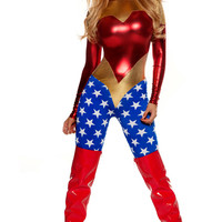 Metallic superhero costume with two toned design and star-spangled leg detail and headband
