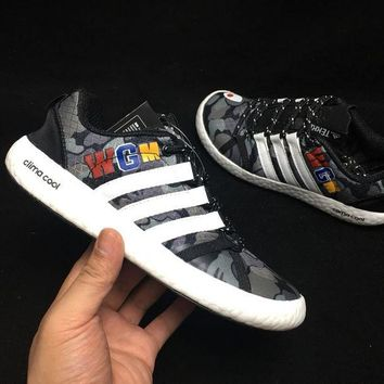 hcxx A307 Adidas Clima Cool Boat Lace Graphic WGM Boost Breathable Running Shoes Black White