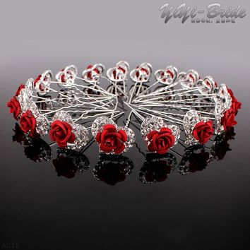 20 pieces/lot Red Rose Charm Wedding Bridal Party Hair Pins Clip Barrette Clear Crystal Hairpins