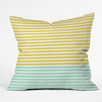 Allyson Johnson Mint And Chartreuse Stripes Throw Pillow