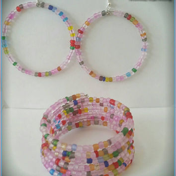 Pink Frosted Mix Memory Wire Bracelet & Hoop Earrings Set - $14.00 - Handmade Jewelry, Crafts and Unique Gifts by WandaFulBeading