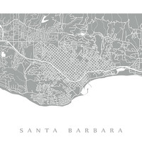 Santa Barbara Map - California Poster Print