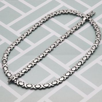 Stainless Steel Women Hugs and Kisses Necklace and Bracelet, by Folks Jewelry
