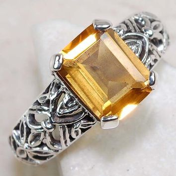 Vintage style Citrine sterling silver ring size 9