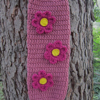 Crochet Plastic Bag Holder - Dark Country Rose with Dark Pink Flowers, Walmart Bag Holder by Charlene
