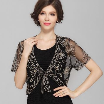 Summer Black Crochet Lace Mesh Shrug Women V Collar Short Sleeve Embroidery Flower See-Through Vintage Cardigan Belt