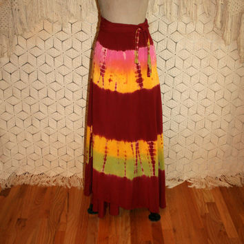 Tie Dye Maxi Skirt Long Wrap Skirt Rayon Beach Skirt Boho Hippie Red Yellow Festival Clothing Hippie Clothing Boho Clothing Womens Clothing