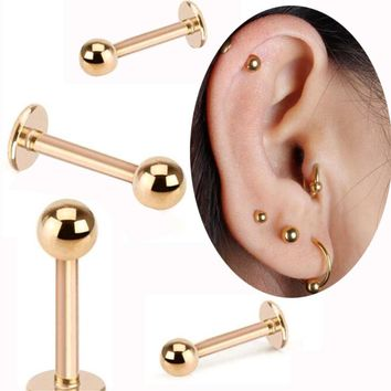 2Piece 16G Labret Lip Ring Surgical Stainless Steel Tragus Earrings Gold Ball Spike Helix Bar Body Piercing Jewelry Lobe Rings