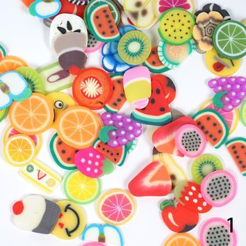 Fruit Shape Fimo Slices Polymer Clay Nail Art Stickers