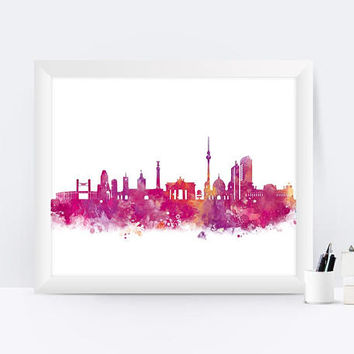Berlin print Berlin Skyline City Watercolor Painting Art Print Berlin Poster Berlin City Wall Hanging Home Decor Skyline Art
