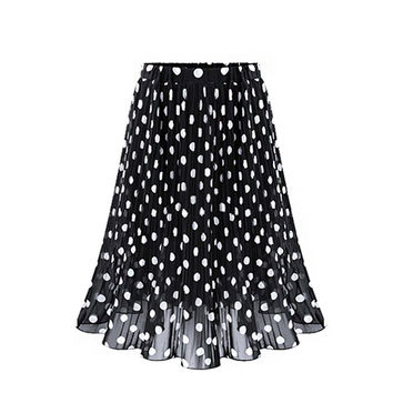 Chiffon Skirts Womens Vintage Polka Dot Sexy Clothing Black White Office Ladies Mid-Calf Casual Midi Skirt Ukraine Clothes Saia