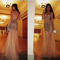 2014 Mermaid Spagetti Straps Sleeveless Court Train Gold Tulle Satin Beaded Open Back Elegant Evening Dresses Prom Dresses Gown